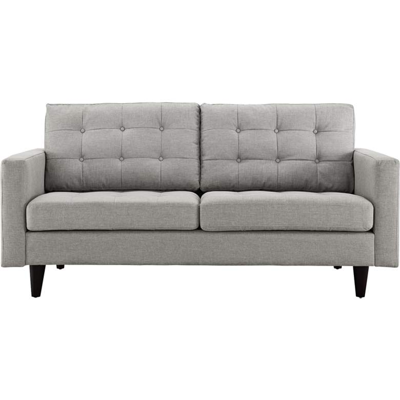 Empress Light Gray Fabric Tufted Loveseat