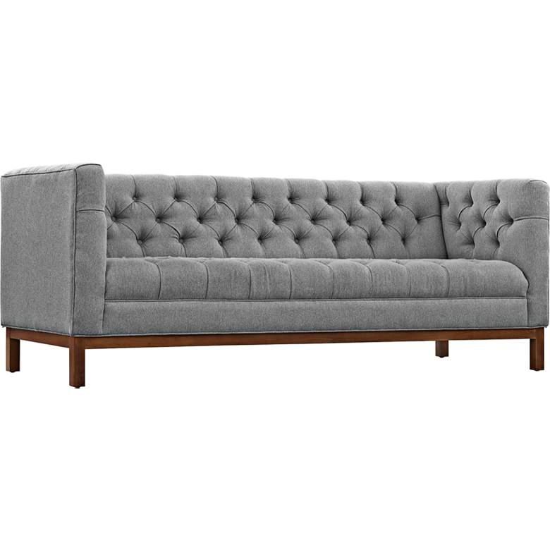 "Panache Expectation 84"" Wide Gray Fabric Tufted Sofa"