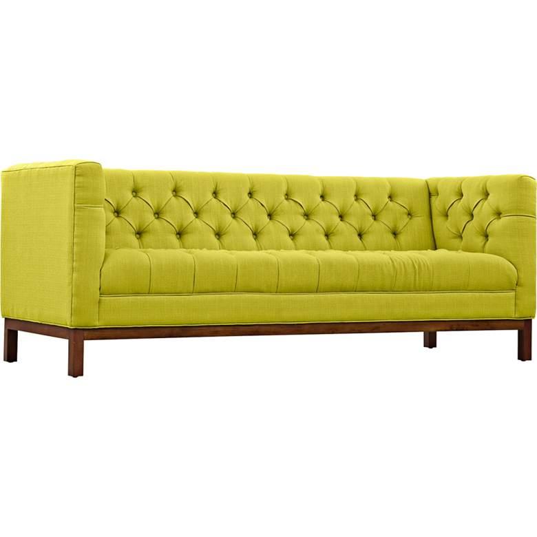 "Panache Wheatgrass 84"" Wide Fabric Tufted Sofa"