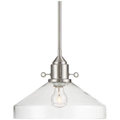 "Possini Euro Aeron 13"" Wide Brushed Nickel Pendant Light"