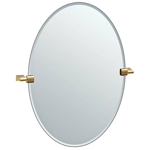 """Bleu Matte Brass 23 1/2"""" x 26 1/2"""" Small Oval Wall Mirror"""