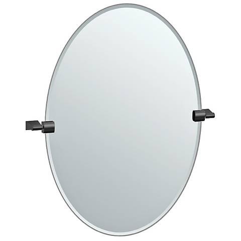 "Bleu Matte Black 23 1/2"" x 26 1/2"" Small Oval Wall Mirror"