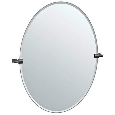 """Bleu Matte Black 28 1/4"""" x 32"""" Large Oval Wall Mirror"""