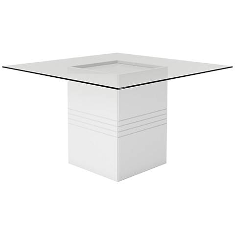 Perry 1.8 White Gloss Square Wood Dining Table