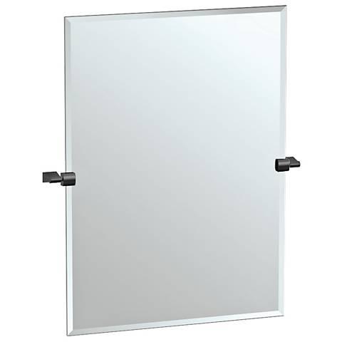 "Bleu Matte Black 27 3/4"" x 31 1/2"" Rectangle Wall Mirror"