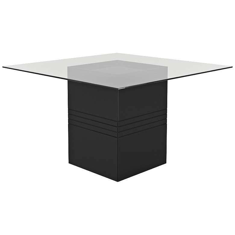"""Perry 1.8 55"""" Wide Black Gloss Square Wood Dining Table"""