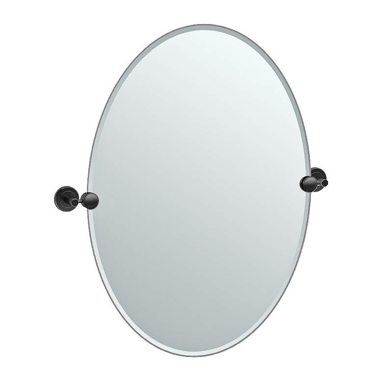 "Gatco Latitude II Black 23 1/2"" x 26 1/2"" Oval Wall Mirror"