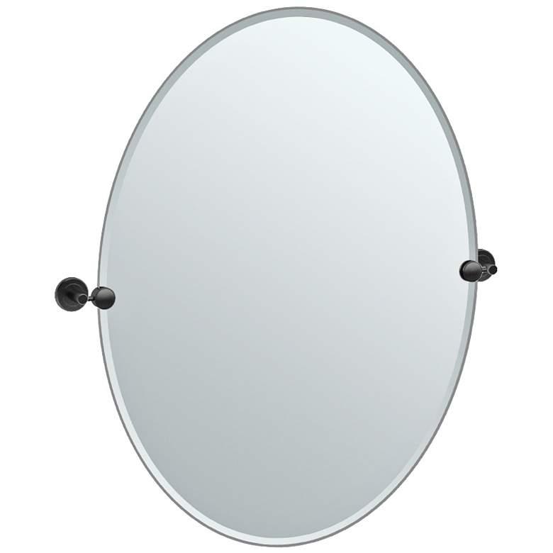 "Latitude II Black 28 1/4"" x 32"" Oval Wall Mirror"