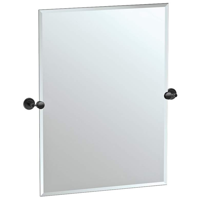 "Latitude II Black 27 1/2"" x 31 1/2"" Rectangular Wall Mirror"
