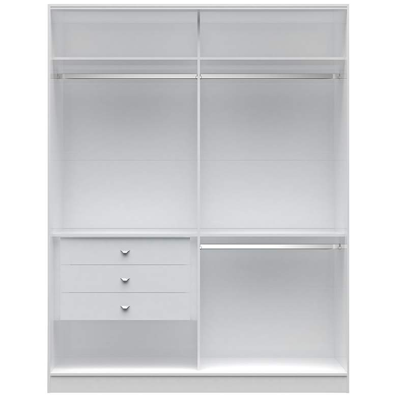 Chelsea 2.0 White Wood Double Basic Wardrobe Closet