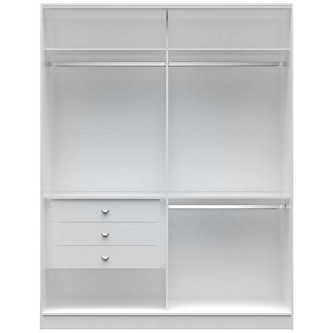 Chelsea 2.0 White Wood Double Basic Wardrobe Closet