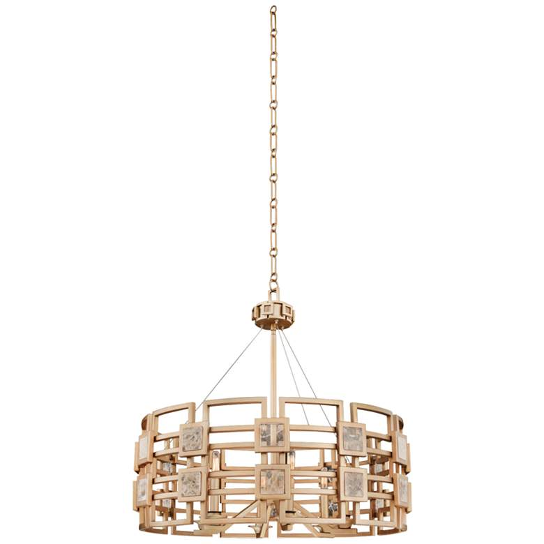 """Metropolis 28"""" Wide Modern Gold Lattice-Cage Pendant Light"""