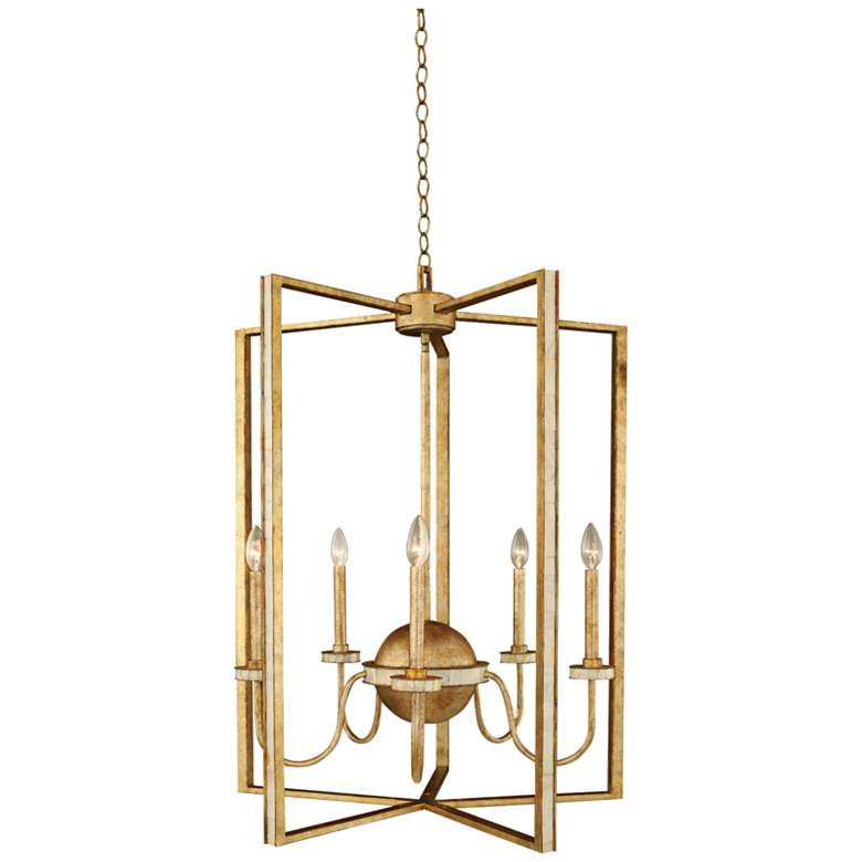 "LaSalle 28""W Distressed Honey Gold 5-Light Foyer Chandelier"
