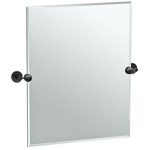 """Latitude II Black 24"""" x 24"""" Rectangle Wall Mirror"""