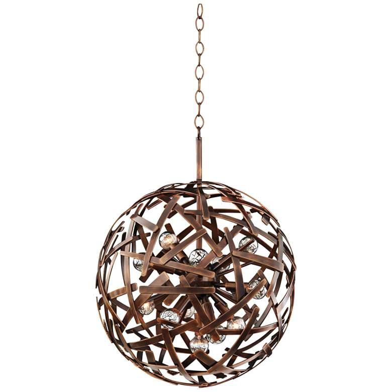 "Ambassador 20"" Wide Copper Recycled Steel Sphere Pendant"