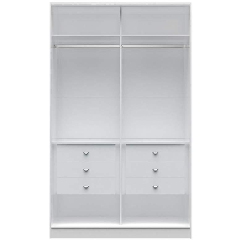 """Chelsea 90 1/2"""" High White Wood He/She Wardrobe Closet"""
