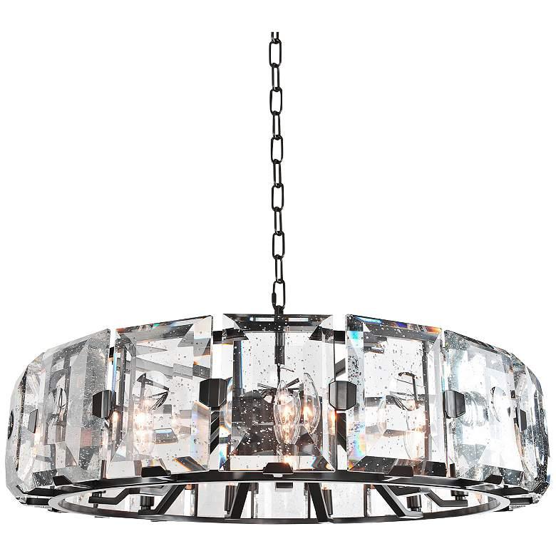 "Giada 30""W Dark Bronze Round Bubble Crystal Pendant Light"