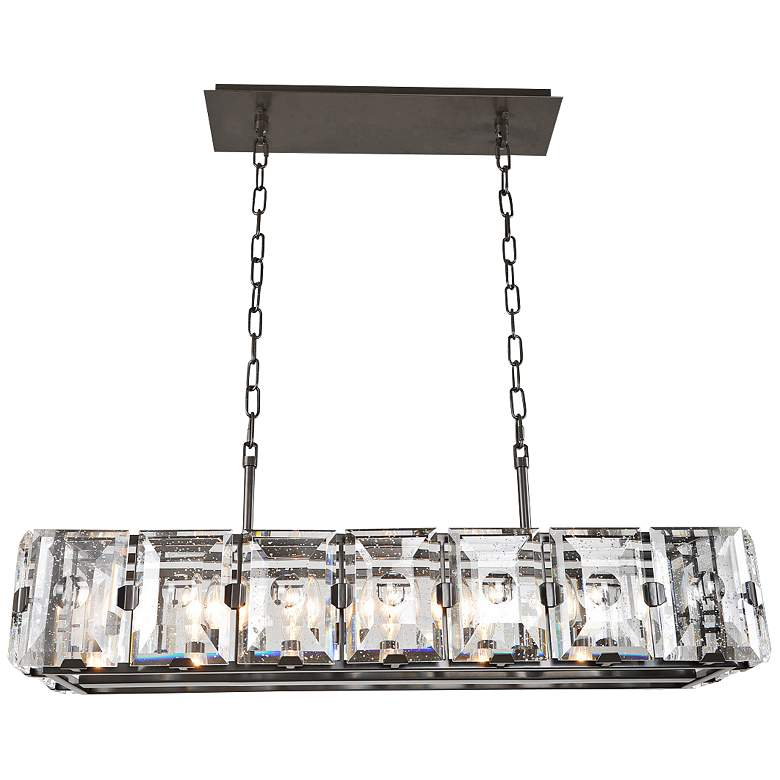 "Giada 37"" Wide Bronze Crystal Kitchen Island Light Pendant"
