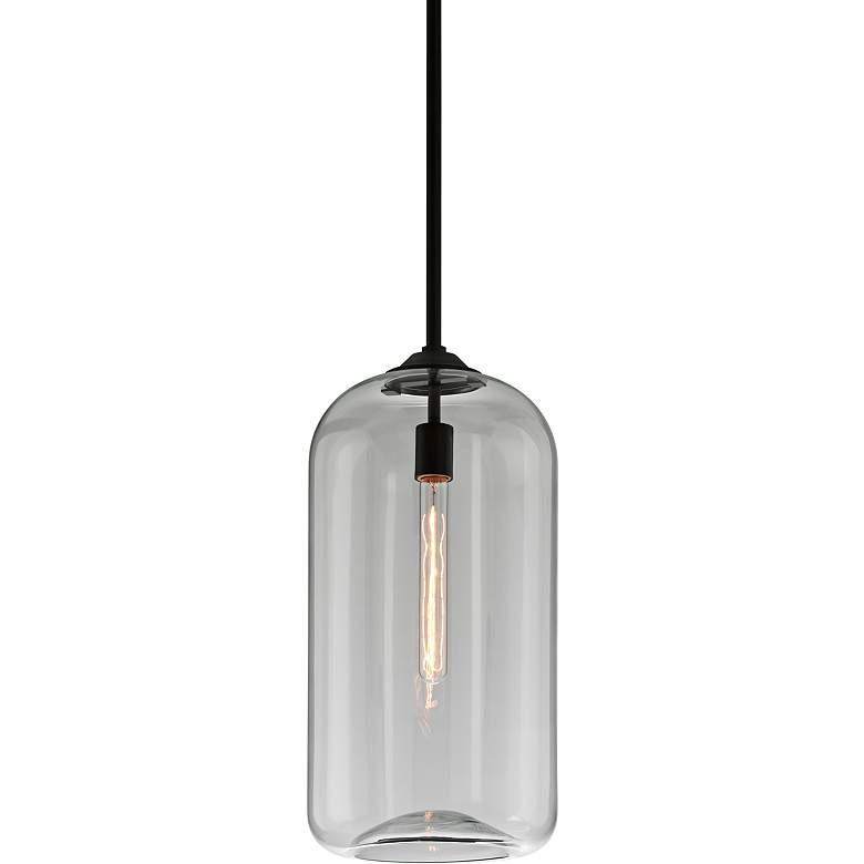 "District 10""W Satin Black and Clear Glass Mini Pendant"