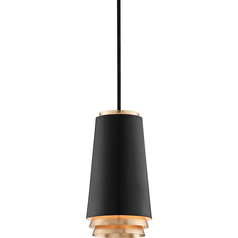 "Fahrenheit 8 1/4"" Wide Textured Black LED Mini Pendant"