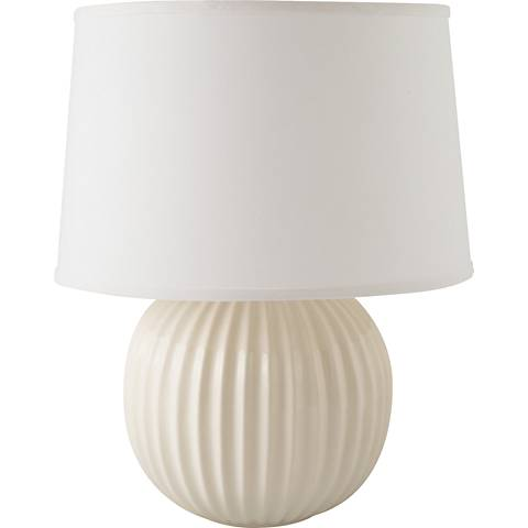 RiverCeramic® Fluted Round Gloss White Table Lamp