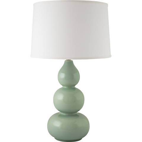 RiverCeramic® Triple Gourd Gloss Wythe Blue Table Lamp