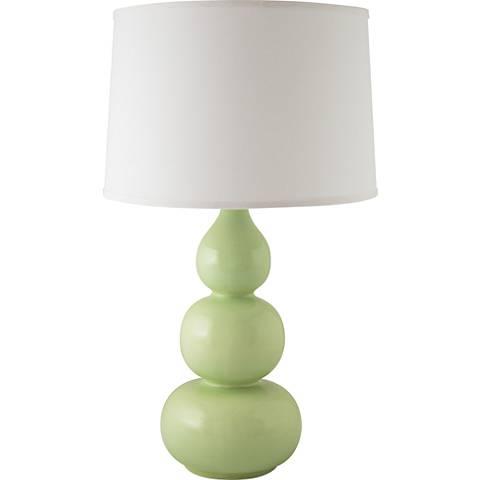 RiverCeramic® Triple Gourd Gloss Crisp Green Table Lamp
