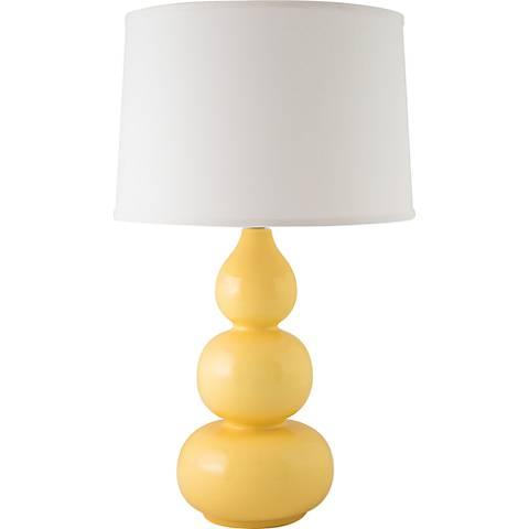 RiverCeramic® Triple Gourd Gloss Straw Yellow Table Lamp