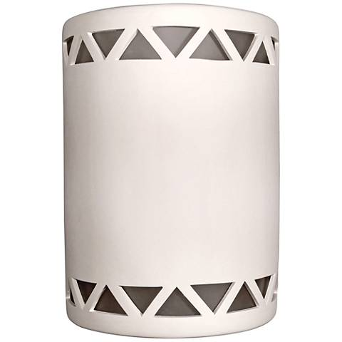 "Jaken 10""H White Bisque Outdoor Wall Light with Triangles"