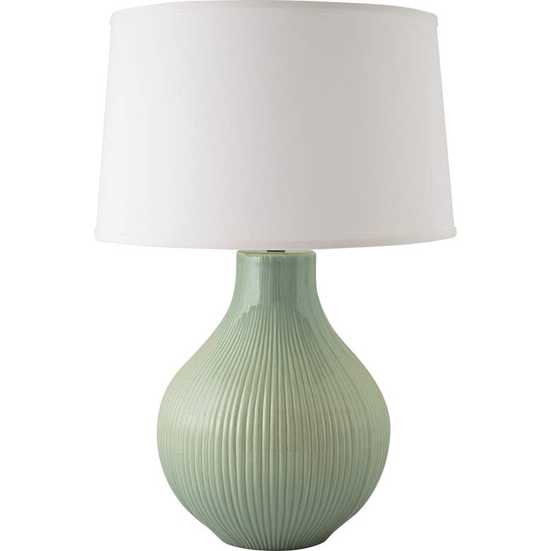 RiverCeramic® Classic Fluted Gloss Wythe Green Table Lamp