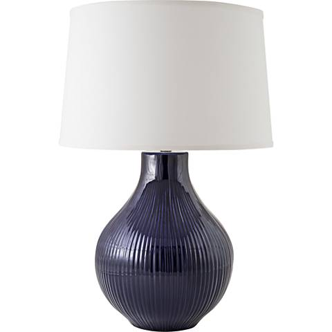 RiverCeramic® Classic Fluted Gloss Navy Table Lamp