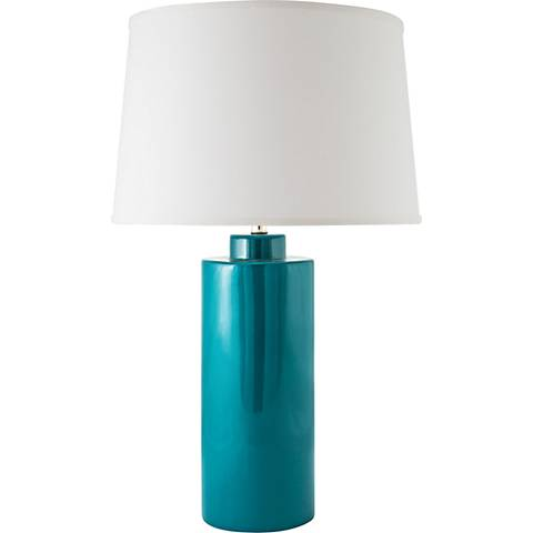 RiverCeramic® Cylinder Gloss Ocean Table Lamp