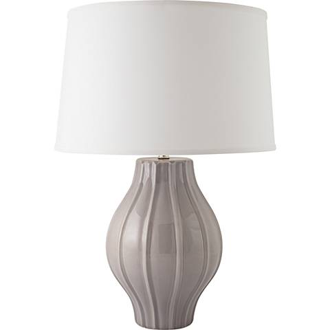 RiverCeramic® Large Fluted Gloss Swanky Gray Table Lamp