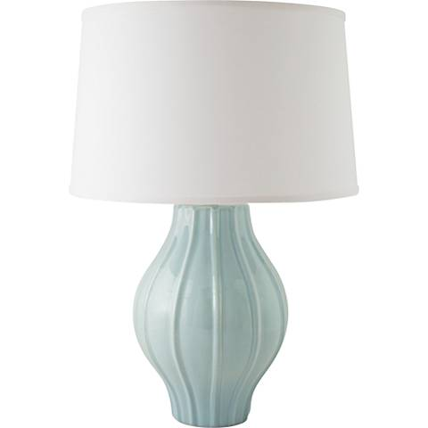 RiverCeramic® Large Fluted Gloss Mist Gray Table Lamp