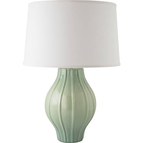 RiverCeramic® Large Fluted Gloss Wythe Blue Table Lamp