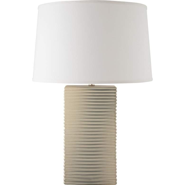 RiverCeramic® Layered Texture Coventry Gray Pearl Table Lamp