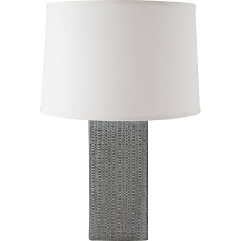 RiverCeramic® Linen Textured White Wash Gray Table Lamp