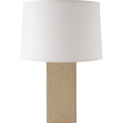 RiverCeramic® Linen Textured White Wash Suede Table Lamp