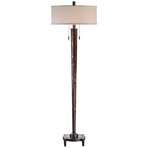 Uttermost Rhett Burnished Oak 2-Light Hardwood Floor Lamp