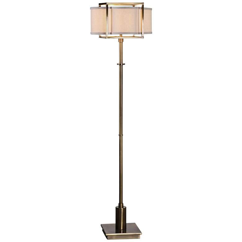 """Uttermost Bettino 62 1/4"""" High Antique Brass Floor Lamp"""