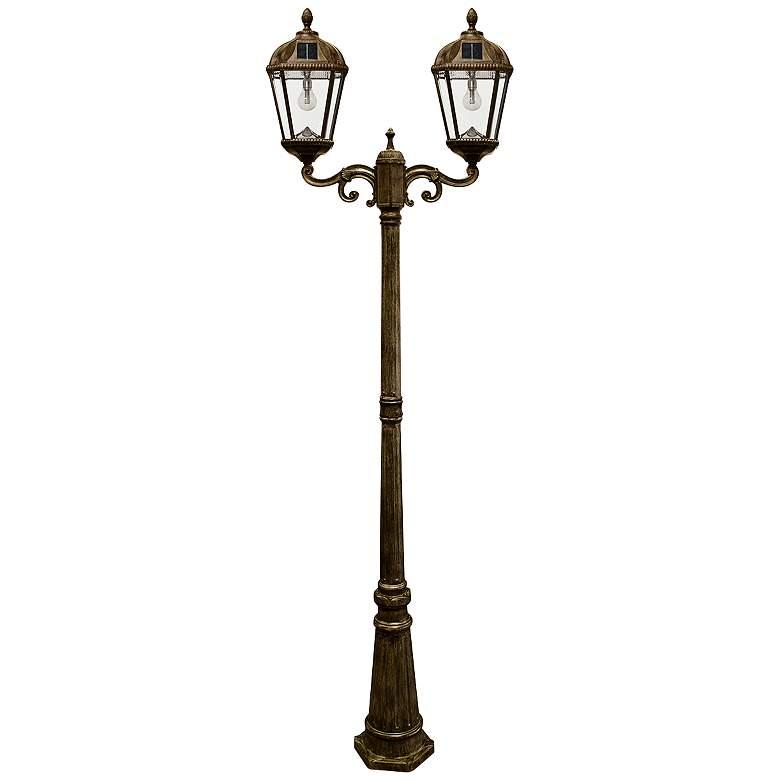 "Royal Bulb 89""H Bronze 2-Lamp Solar LED Outdoor Post Light"