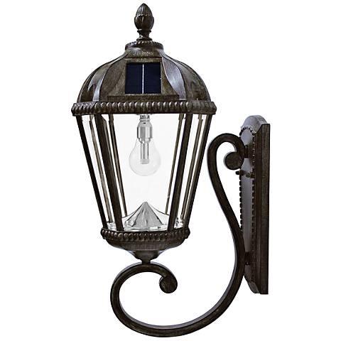"Royal Bulb 21""H Bronze Solar LED Outdoor Wall Light"