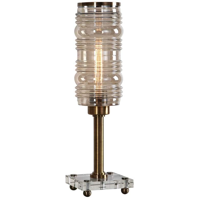 Uttermost Adelardo Antique Plated Brass Hurricane Table Lamp