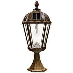 Solar post light outdoor lighting lamps plus royal bulb 23h bronze solar led outdoor pier mount light workwithnaturefo