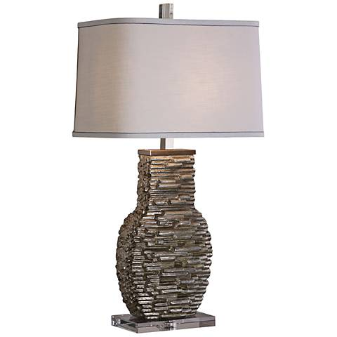 Uttermost Clavin Metallic Silver Ceramic Table Lamp