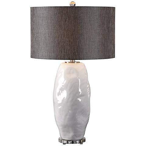 Uttermost Assana Gloss White Organic Ceramic Table Lamp