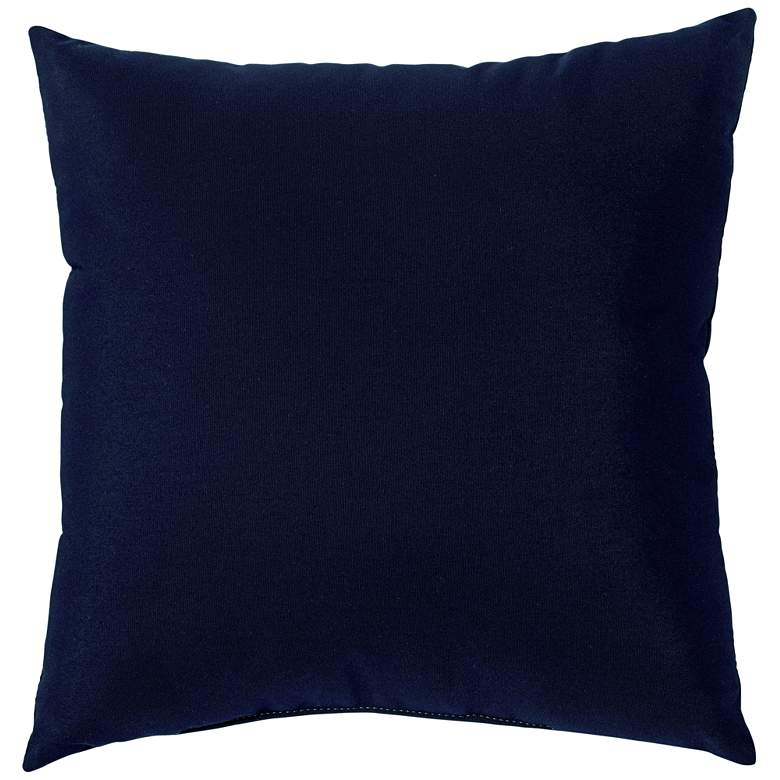 "Sunbrella Navy Blue Canvas 18"" Square Indoor-Outdoor Pillow"