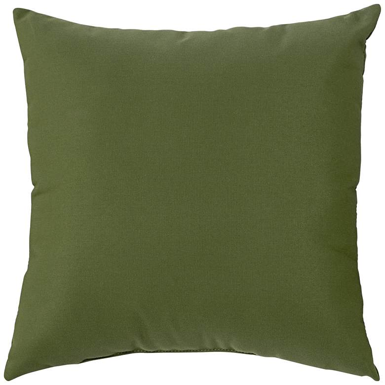 "Sunbrella Palm Green Canvas 18"" Square Indoor-Outdoor Pillow"