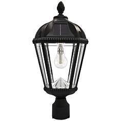 Dusk to dawn post light outdoor lighting lamps plus royal bulb 18h black solar led outdoor pier mount lamp aloadofball Gallery