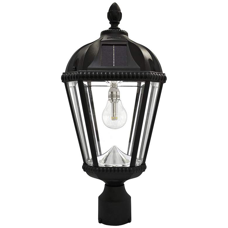 "Royal Bulb 18""H Black Solar LED Outdoor Pier-Mount Lamp"